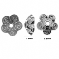 10 Sterling Silver Flower Bead Caps 10mm